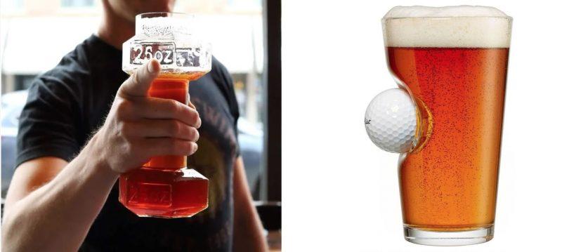 Trainen en bier tanken kan nu tegelijk met dit dumbbel bierglas